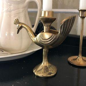 Other - CANDLEHOLDER | Brass Peacock Candlestick Holder